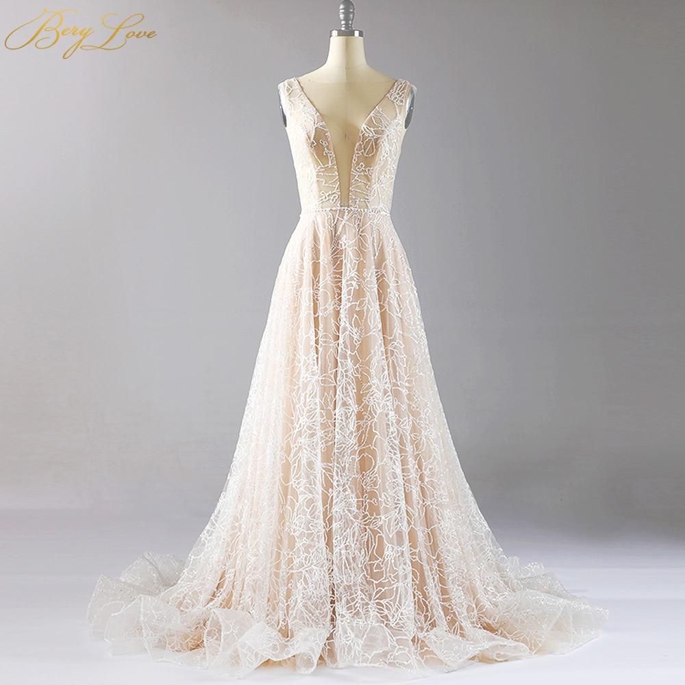 BeryLove Sparkle Elegant Formal Evening Dresses 2020 Champagne Gowns Long Sexy Deep V Shiny Prom Dress Train Robe De Soire