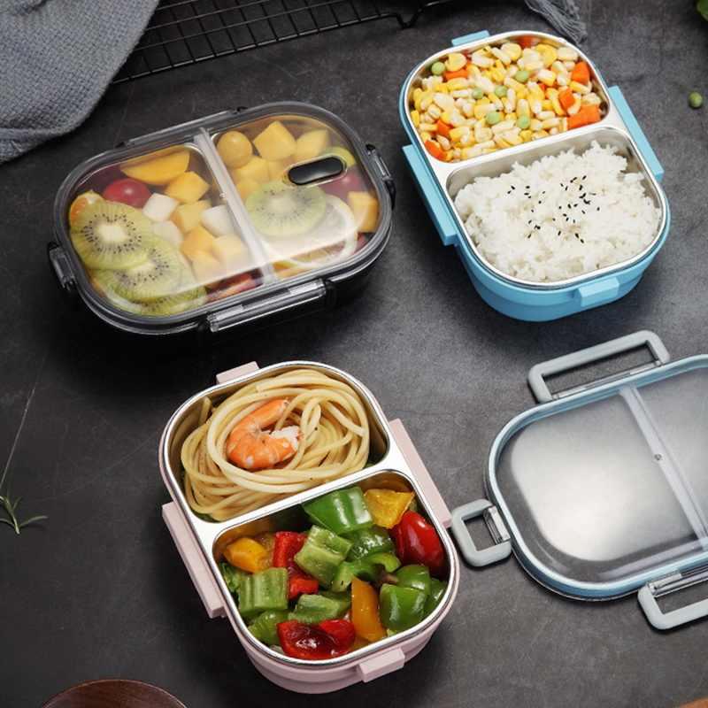 Caja de almuerzo bento aislado escuela hermético días De Acero Inoxidable para Niños Rosa