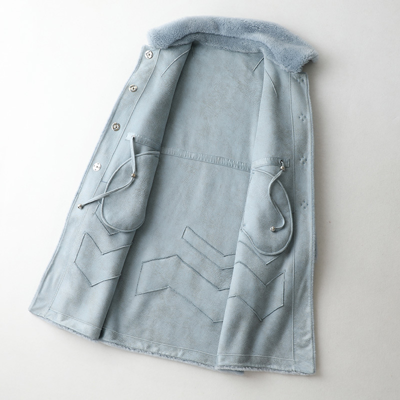 Fashion Blue Wool Fur Coat Long Solid Fashion Sheep Shearing Coat Winter Luxury Thick Warm Outwear Thick Warm Fur Medium Jackets