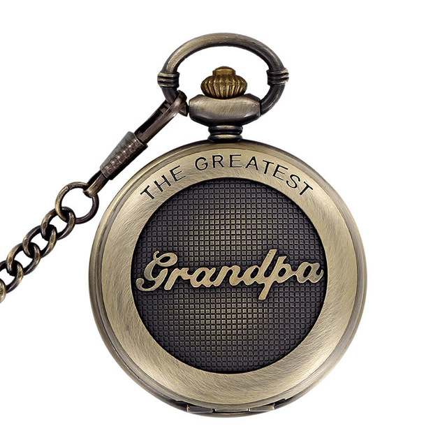 THE GREATEST Unisex Quartz Pocket Watch With Fob Chain Mens Bronze Pocket Watches Gift For Grandpa Men