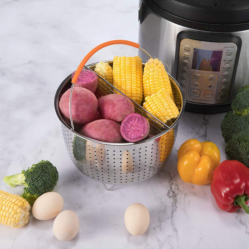 Newly Stainless Steel Steamer Basket Vegetable Drain Basket Pressure Cooker Home Kitchen Tool