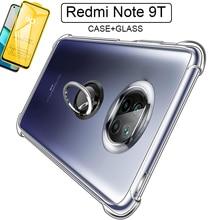 Coque Redmi Note 9T 360 support anneau en métal rotatif boîtier Redmi Note 9T 5G Case béquille Silicone pare chocs xiaomi redmi note 9t étui armure antichoc verre + coque pour Redmi Note 9 T