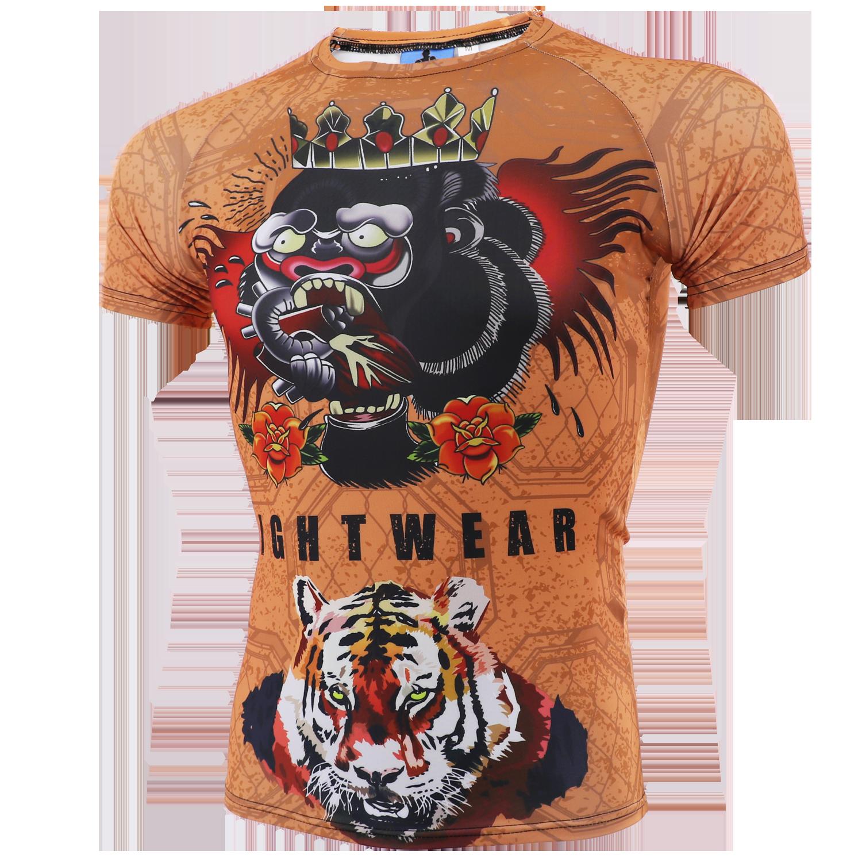 T Shirt Martial Art Sports Rash Guard Elastic Tiger Muay Thai MMA Fight Boxing