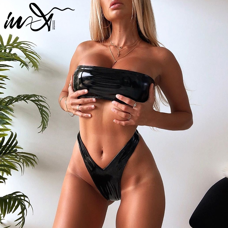 In-X PU leather bandeau bikini set Sexy high cut swimsuit female Extreme thong bikinis 2019 mujer Summer bathers bathing suit