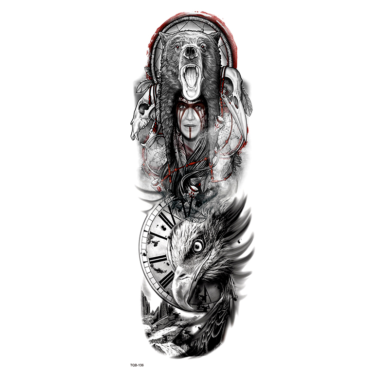 Celtic Druid Full Arm Waterproof Temporary Tattoos Men Bear And Eagle Glitter Tattoo Arm Sleeves Temporary Tatoo Fake Tattoo