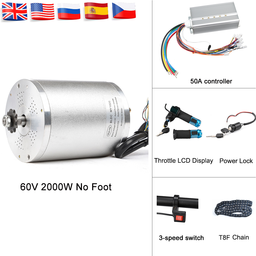 <font><b>60V</b></font> Electric Bike Conversion Kit <font><b>2000W</b></font> DC Brushless <font><b>Motor</b></font> Engine BLDC Controller With LCD Twist Throttle Chain Accessories image