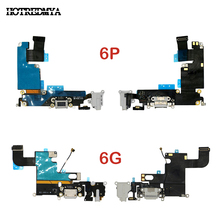 Charging Port Flex Cable For iPhone 6 6G 6 Plus USB Dock Connector Charger Headphone Audio Jack Repair Replacement Parts cltgxdd 5pcs 10pcs for huawei honor v10 usb charger charging connector port flex with headphone earphone audio jack port