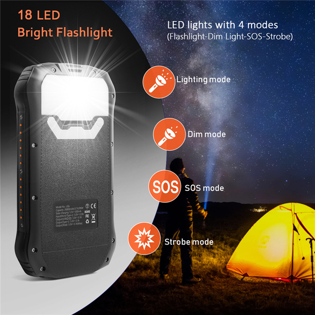 26800mAh Solar Power Bank with Strong LED Flashlight Powerbank For Xiaomi Mi 8 iPhone 11 Samsung Charger Solar Battery Poverbank 4