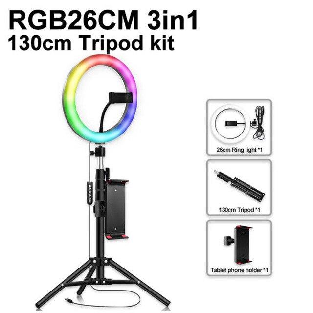 RGB wielokolorowe oświetlenie led 10 cal Selfie lampa pierścieniowa ściemniana obręcz lampa zdjęcie wideo aparat telefon z lampką na żywo YouTube światła wypełniającego