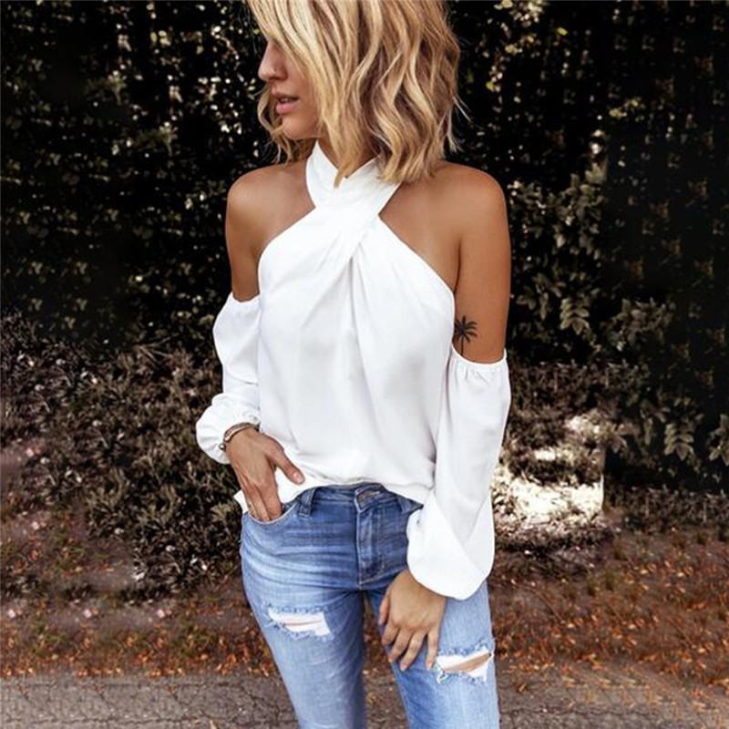 Fashion Solid Color Halter Neck Strapless T-Shirt Casual Sexy Long Sleeve Women T Shirts Lady Elegant Top Party Tee Shirt Femme