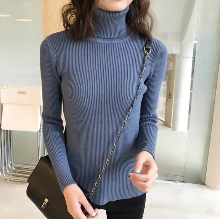 Sweater Wanita Korea Wanita Turtleneck Sweater Sueter Mujer Invierno 2019 Rajutan Sweater Wanita Sweater Wanita dan Pullovers