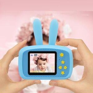 Детская фотокамера с мультяшным защитным чехлом, мини цифровая камера для мальчиков и девочек, забавные электронные игрушки, детский подар...
