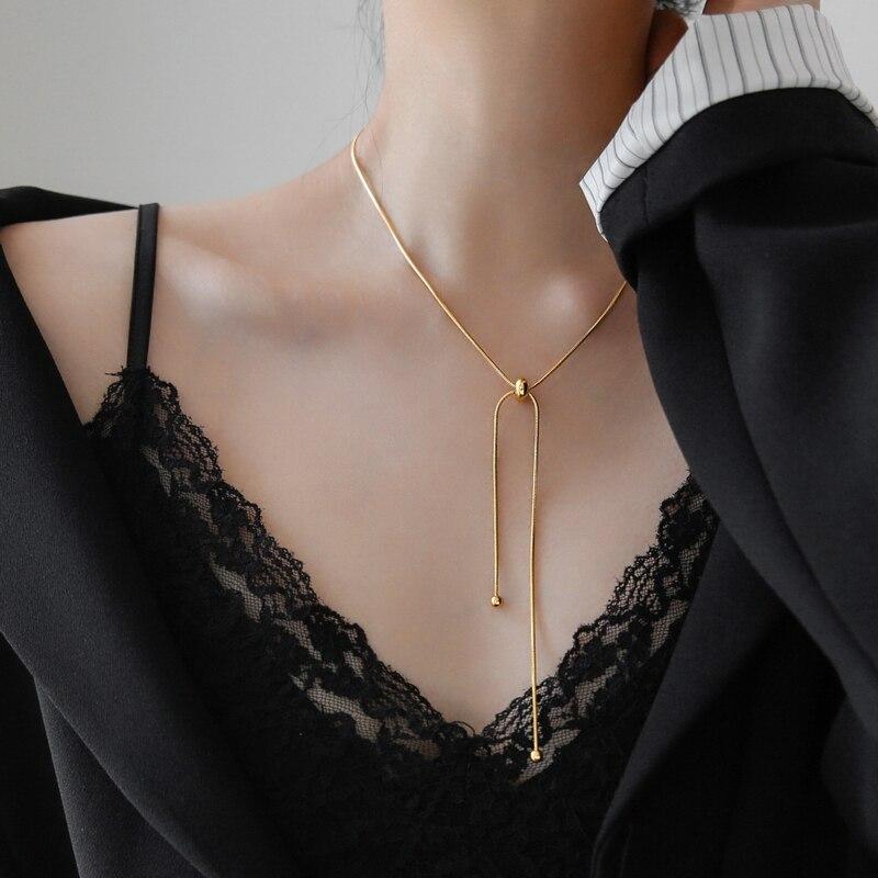 YUN RUO 2020 простая Мода желтый золотой цвет Регулируемая змея цепь ожерелье Титановая Сталь Ювелирные изделия женщина аксессуар никогда не вы...