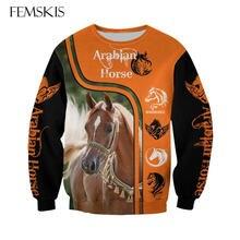 Модная Толстовка femski с 3d принтом арабских лошадей в стиле