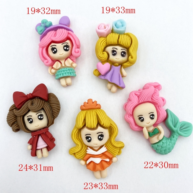 10pcs Hand painted Unique resin Lovely princess Flat Back Figurine DIY Wedding Scrapbook Decor Home Craft Accessories D47 3