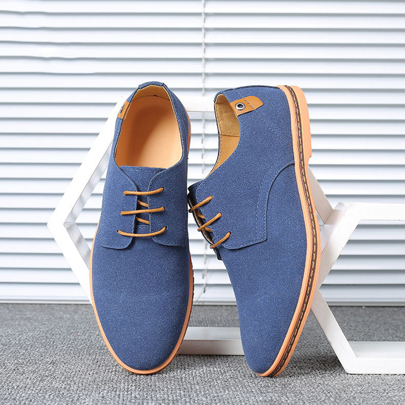 Merkmak 2020 Spring Suede Leather Men Shoes Solid Casual Dress Shoes Men Lace-up Breathable Non-slip Sole Loafers Man Size 38-48