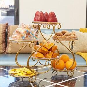 Plato creativo multicapa de hierro forjado para fruta, hogar, sala de estar, fruta seca, postre de pastel de merienda, soporte de exhibición, estante de almacenamiento mx91017