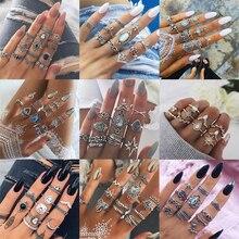 Vintage bohemio Midi anillos de dedo conjunto para mujeres playa tortuga elefante geométrico cristal nudillos anillos Boho boda joyería