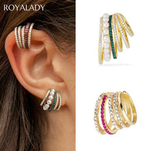 Trendy Stylish Hoop Circle Crystal Ear Cuff With Pearl Non Pierced Clip Earrings For Women Punk Rock CZ Earcuff Fashion Jewelry pair of stylish faux crystal hoop earrings for women