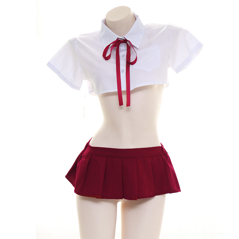 White Student Cosplay JK Uniform Underwaer Set Japanese Sexy Lovely Lolita Girl Ultrashort Shirts Skirt Set Lingerie Suit Women