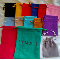 100pcs/lot Can add Logo Jewelry packing pouches 3 sizes Soft Velvet Gift bag for Ring/Earrings/Bracelet/Necklace/Sets