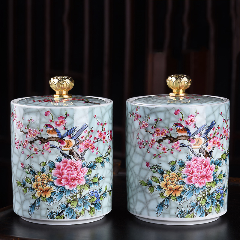 Painted Flowers And Birds Home Ganoderma Lucidum Tea Coffee Beans Biscuits Candy Sealed Cans Pill Powder Ceramic Storage Tank