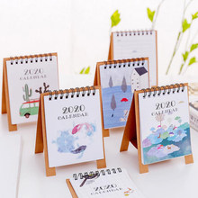 1 Pcs Kawaii 2020 Annuale Mini Flamingo Gatto Cactus Desktop di Carta Calendario Doppio Quotidiano Da Tavolo Scheduler Planner Agenda Organizer(China)
