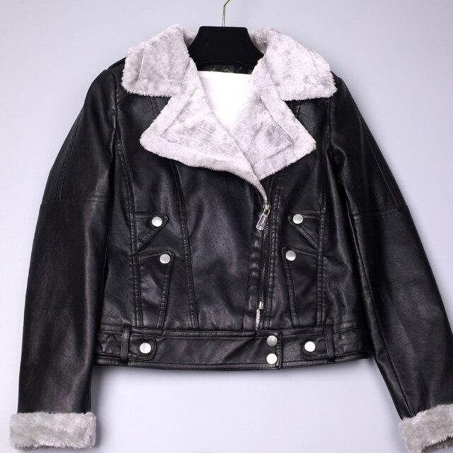 Autumn Winter Handsome Motorcycle Women s Leather Jacket Korean Plus Velvet Patchwork Women Faux Leather Fashion Zipper Coat