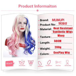 """Image 3 - MUMUPI 20"""" Pink Blue Blonde Mix Harley Quinn Suicide Squad Batman Synthetic Wig Harleen Quinzel Cosplay Costume Wig Hair"""