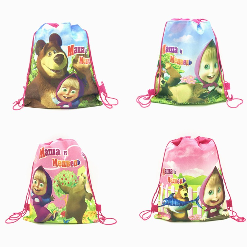 Hot Masha And Bear Drawstring Bag For Girls Travel Storage Package Cartoon School Backpacks Children Birthday Party Favors 1PCS