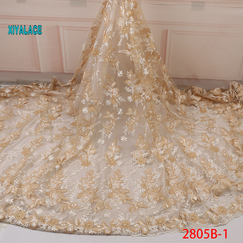 Latest Pale Yellow African Tulle Lace Fabric 2019 High Quality Nigerian Lace 3D Flower French Net Lace Fabric For Dress YA2805B1