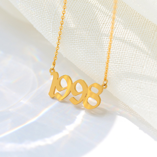 Birth Year Necklace For Women 1993 1997 1998 2020 Digital Number Pendant Necklaces Jewelry Stainless Steel Chain Birthday Gifts