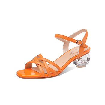 2020 Summer Round high heels Single Shoes Woman Genuine Leather Buckle Women Sandals Comfortable Breathable Shoes