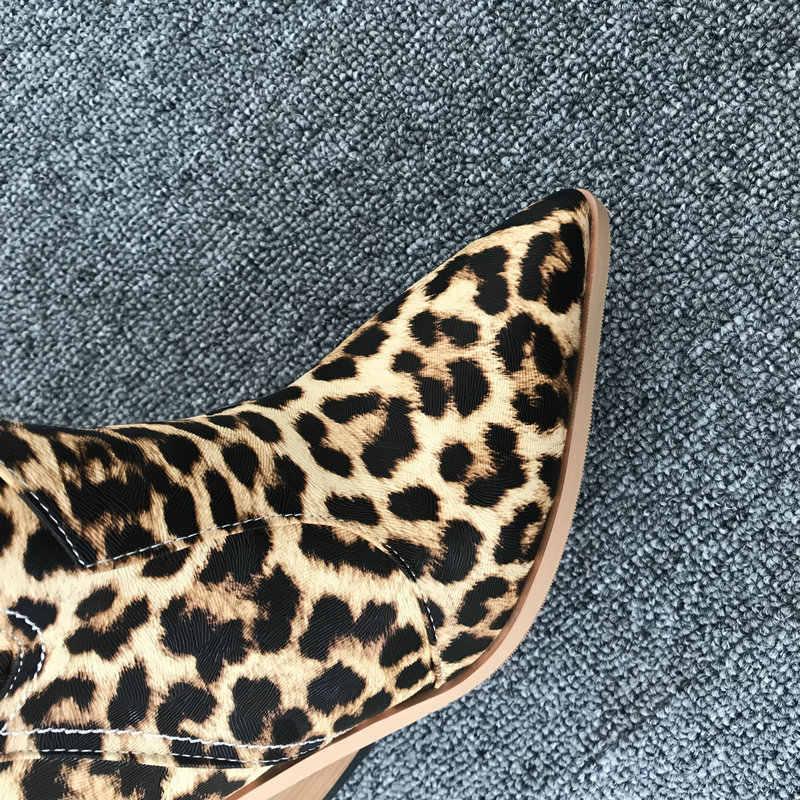 2019 marka sonbahar kış yarım çizmeler kadınlar için batı kovboy botları pembe mavi leopar sarı yılan baskı bayanlar çizmeler yüksek topuklu