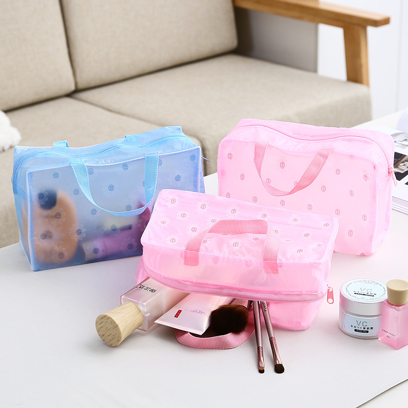 Travel Ladies Transparent Waterproof Women's Bag Organizer Women Cosmetic Makeup Storage Bag Wash Shower Bathroom Storage Bags