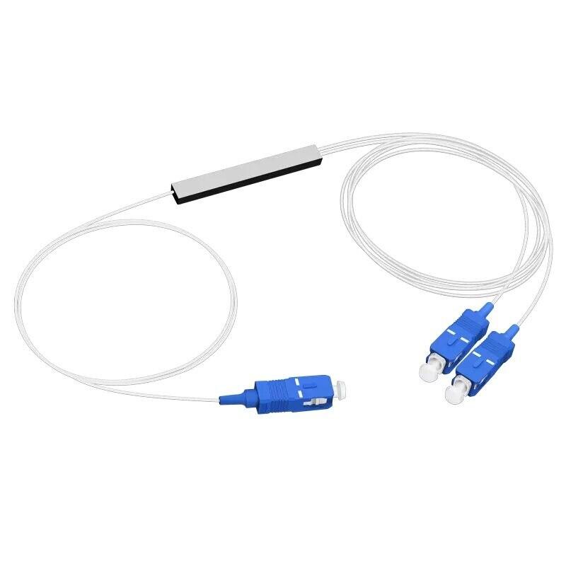 SC/UPC Fiber Optical PLC Splitter SC 1 X 2 Mini Steel Tube Type 1x2 0.9mm Fiber Opitc Splitter Micro-enclosed Splitter