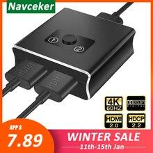 2020 1x2 HDMI bidirectionnel commutateur prise en charge HDMI 2.0 HDCP 2.2 UHD 4K 2x1 HDMI commutateur HUB Box pour Apple TV, XBox,PS3, PS4 HDTV