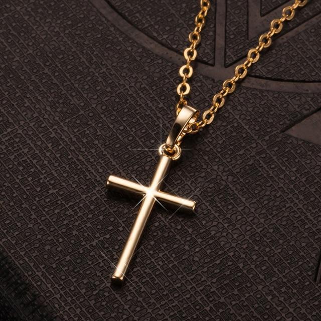 Fashion Female Cross Pendants dropshipping Gold Black Color Crystal Jesus Cross Pendant Necklace Jewelry For Men/Women Wholesale 4