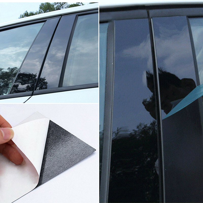 8pcs BC Window Pillar Cover Door Trim Cover Strip Molding PC Plastic Car Styling For Mazda 3 2006 2008-2012