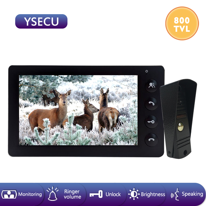 YSECU 7''Wired Black Video Doorbell Intercom System Video Camera Color LCD Indoor Monitor Unlock Talking Video Door Entry Panel