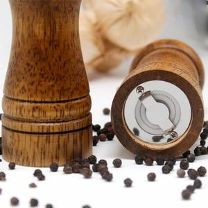 Image 5 - HIKUUI Classical Oak Wood Pepper Spice Mill Grinder Set Handheld Seasoning Mills Grinder Ceramic Grinding Core BBQ Tools Set