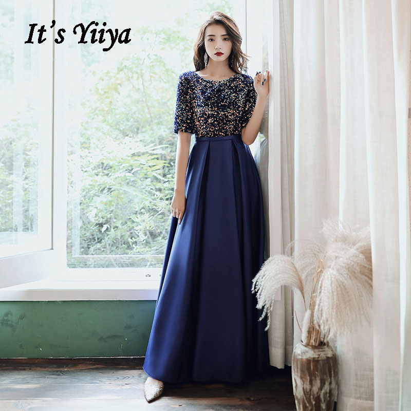 Elegant Evening Dress It's Yiiya AR479 Navy Blue Colorful Sequined Robe De Soiree O-neck Formal Dresses Half Sleeve Evening Gown