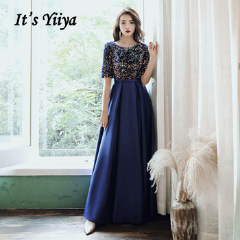 Elegant Evening Dress It's Yiiya AR479 Navy Blue Colorful Sequined Robe De Soiree O-neck Formal Dresses Half Sleeve Evening Gown 2020 elegant navy blue half sleeve evening dresses sequined sexy o neck abendkleider formal party long prom gowns robe de soiree