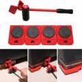 5 En 1 herramientas de manejo de objetos pesados móviles elevador de muebles portátil conjunto de mano para el hogar 4 rodillos de movimiento + 1 rueda de Bar