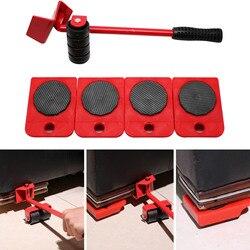 5 em 1 Movendo Objeto Pesado Conjunto de Ferramentas de Manipulação de Transporte Móveis Levantador Mão Doméstico Portátil 4 Mover Roller + 1 roda de Bar