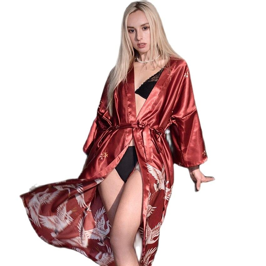 Купить халаты для женщин искусственный шелк пол сексуальная ночная