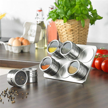 New 6/9 Pcs Magnetic Spice Jars Set Stainless Steel Salt and Pepper Spray Shakers Rack Seasoning Box Condiment Container