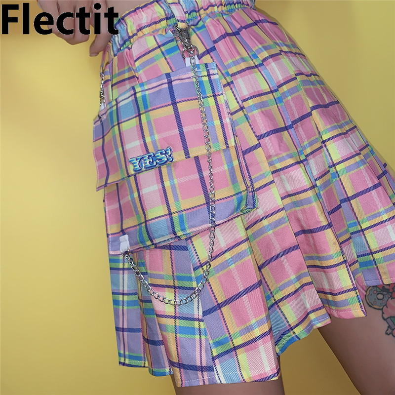 Flectit Pastel Rainbow Plaid Cargo Skirt With Chain & Oversized Pocket Pleated Mini Skirt For Women Harajuku Girls *