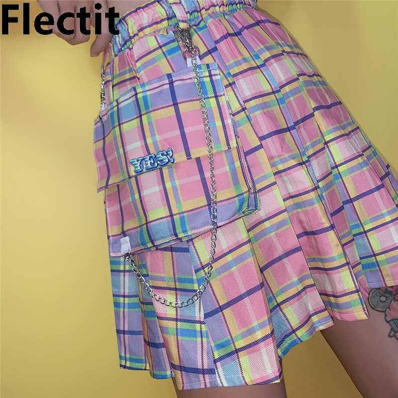 Flectit pastelowa tęczowa krata Cargo spódnica z łańcuszkiem i przewymiarowaną kieszenią plisowana Mini spódniczka dla kobiet Harajuku dla dziewczyn *