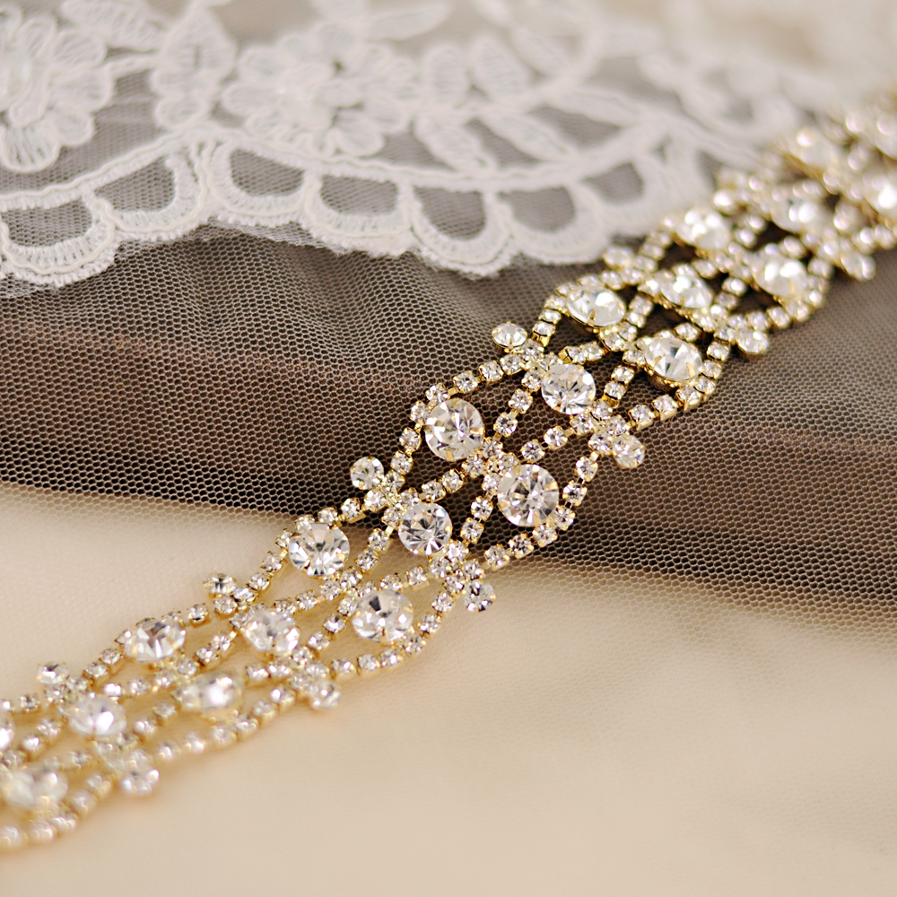 TRiXY S414-G Stunning Gold Wedding Belt Crystal Bridal Sash Diamond Belt Bridal Belt Handmade Rhinestone Bridal Belt Bridal Sash